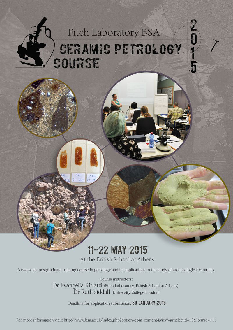 In May 2015, the Fitch Laboratory will hold a two-week postgraduate training course providing an introduction to ceramic petrology.