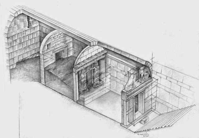 On this drawing by M. Lefantzis, on can see the staircase leading to the first chamber.