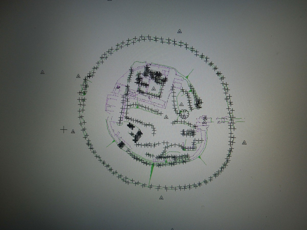 Topographic plan of the inner bailey of Old Sarum and the surrounding DItch. Photo credit: Survey at Old Sarum in 2014.