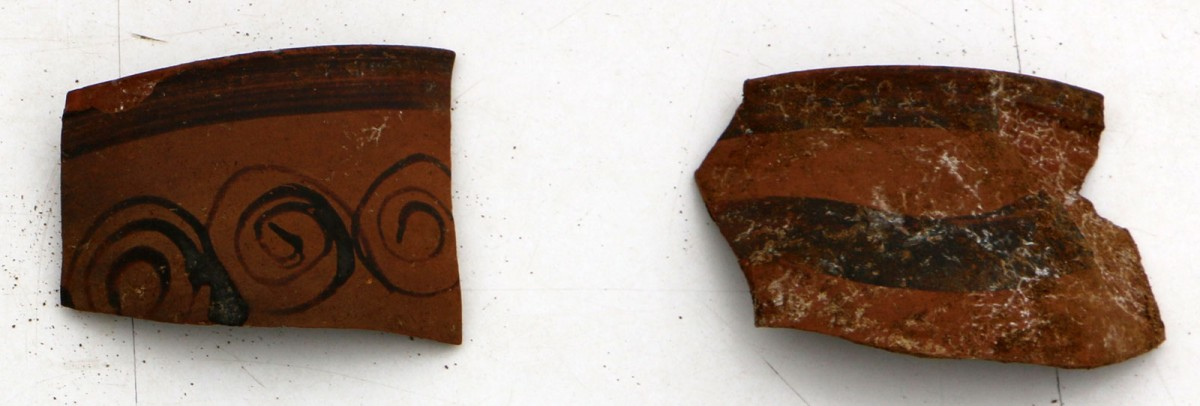 "Fig. 15. Vessel fragments revealed during the rescue excavation at the ""Rema Xydias"" in Platamonas (Pieria, Greece). Photo: Ephorate of Antiquities of Pieria"