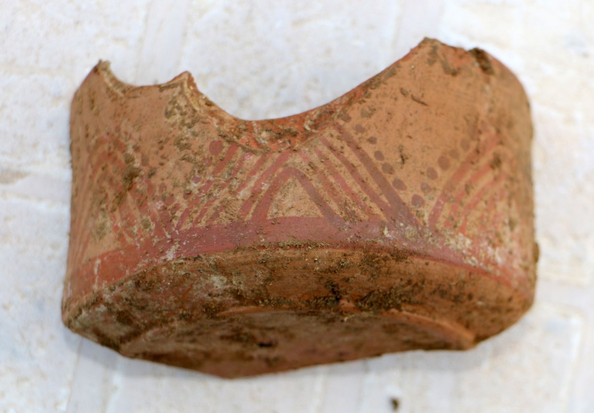 "Fig. 16. Vessel fragment revealed during the rescue excavation at the ""Rema Xydias"" in Platamonas (Pieria, Greece). Photo: Ephorate of Antiquities of Pieria"