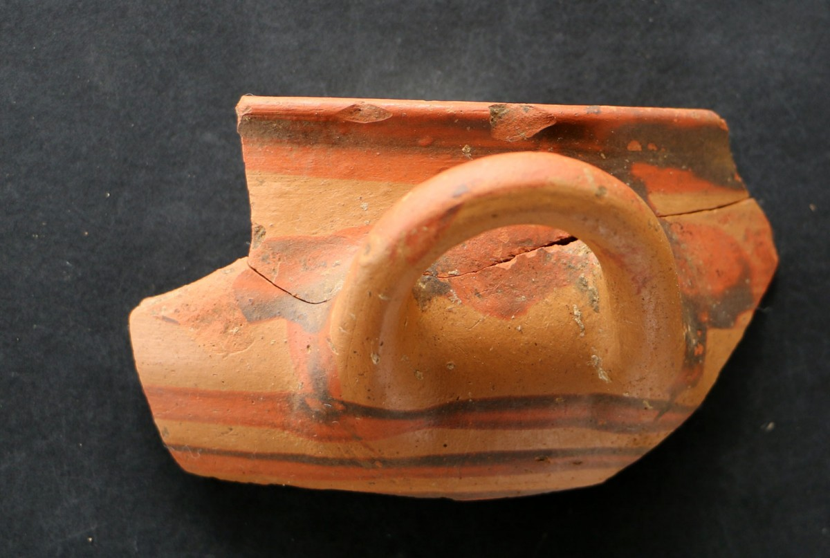 "Fig. 17. Vessel fragment revealed during the rescue excavation at the ""Rema Xydias"" in Platamonas (Pieria, Greece). Photo: Ephorate of Antiquities of Pieria"