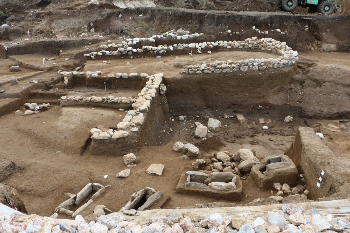 "Fig. 18. View of the excavation at the ""Rema Xydias"" in Platamonas (Pieria, Greece). Photo: Ephorate of Antiquities of Pieria"