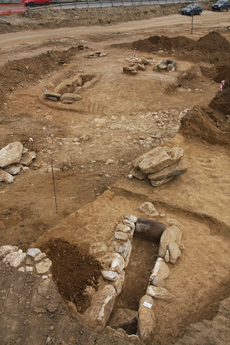 "Fig. 1. Nineteen cist graves came to light at the site ""Rema Xydias"" in Platamonas (Pieria, Greece). Photo: Ephorate of Antiquities of Pieria"
