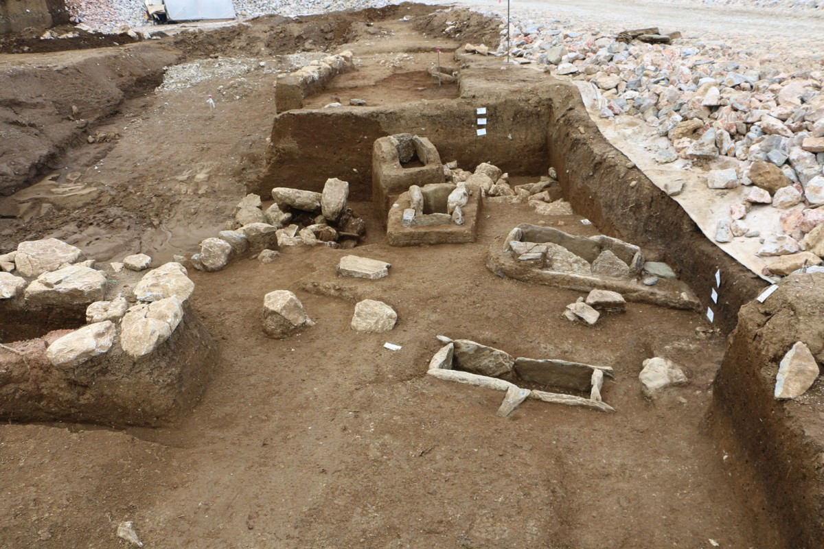 "Fig. 6. View of the cemetery revealed during the rescue excavation at the ""Rema Xydias"" in Platamonas (Pieria, Greece). Photo: Ephorate of Antiquities of Pieria"