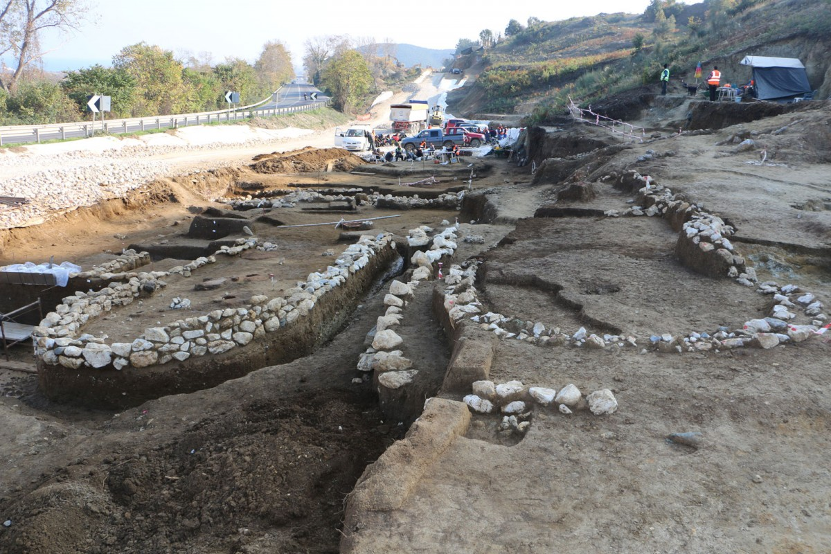"Fig. 7a. Two apsidal buildings and monumental walls (precincts?) were revealed during the rescue excavation at the ""Rema Xydias"" in Platamonas (Pieria, Greece). Photo: Ephorate of Antiquities of Pieria"