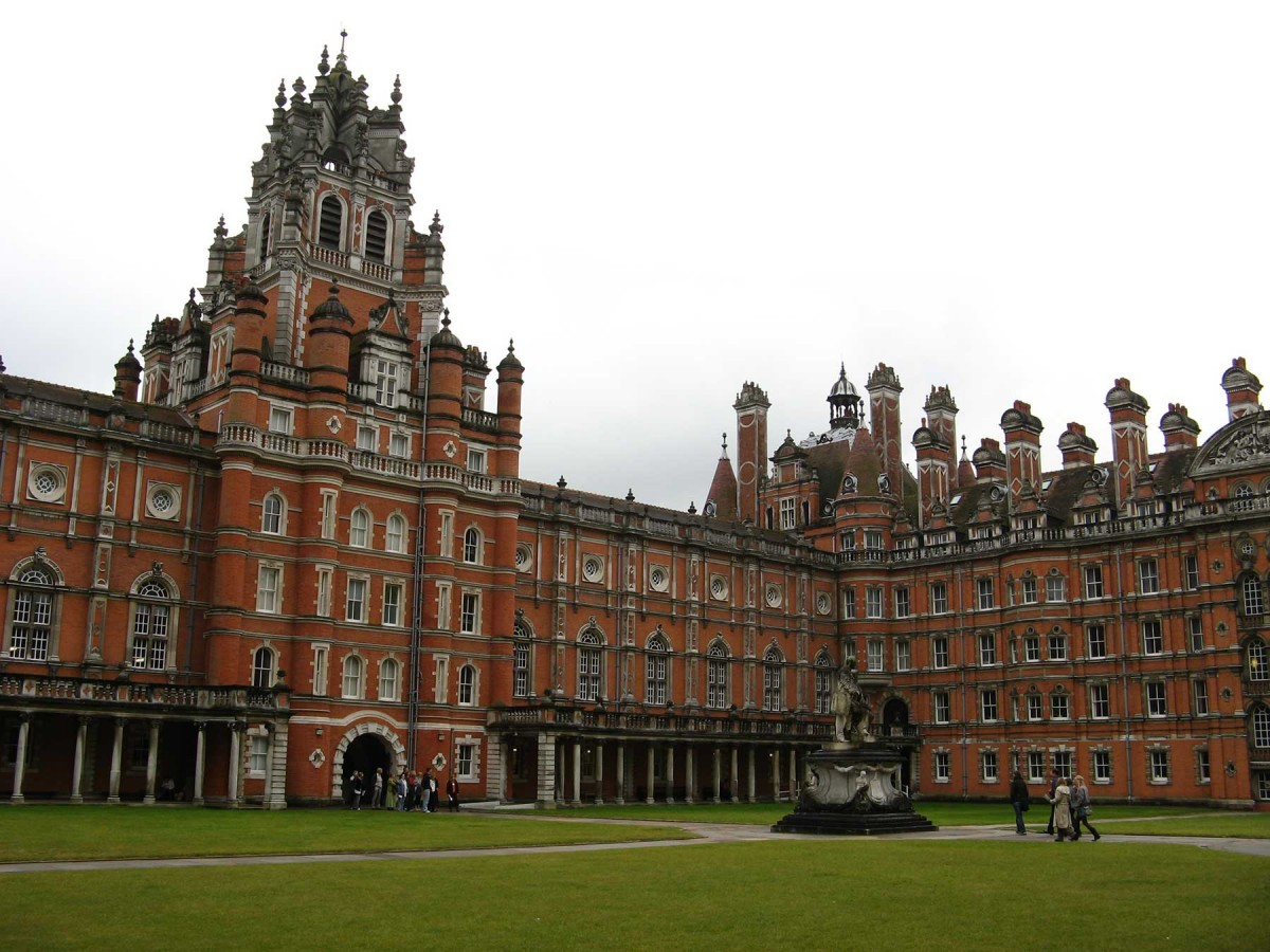 Looking toward the south in the south quadrangle of the Founder's Building, Royal Holloway, University of London, Egham.