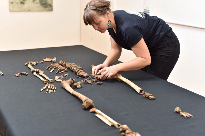Scientists analyze the skeletons trying to solve the Sandy borg massacre mystery. Photo: Kalmar lans museum.