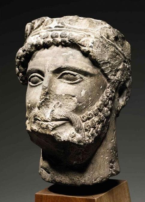 Cypriot limestone head of God, Priest, or Votary, ca. 490-450 B.C.