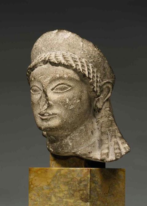 Cypriot limestone head of a Kore, ca. late 6th c. B.C.
