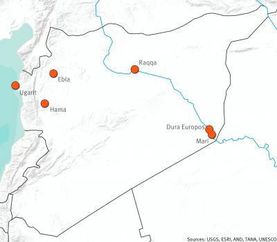 Overview of six of Syria's twelve Tentative World Heritage sites. Credit: AAAS.