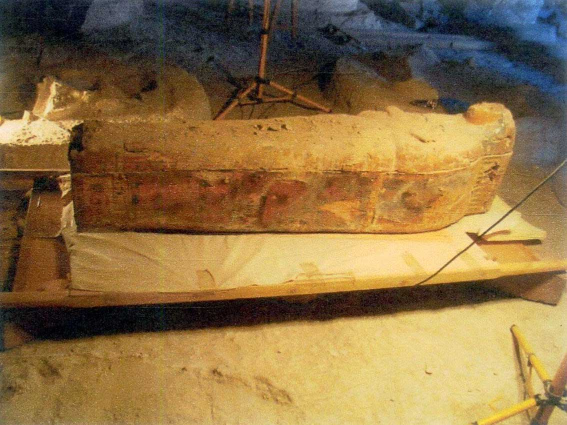 The sarcophagus was found intact and dates to the Third Intermediate Period (1100-900 BC).