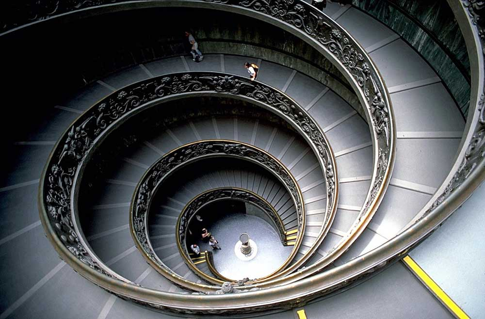 The Bramante Staircase of the Vatican Museums, designed by Giuseppe Momo in 1932.