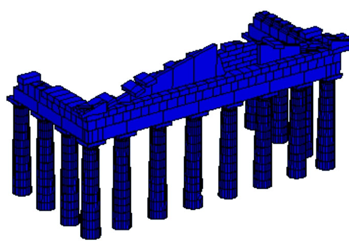 Fig. 4. Model showing the effect on the seismic behavior of the monument posed by the proposed dismantling of the two corners.