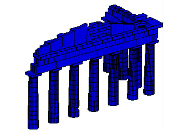 Fig. 5. Model showing the effect on the seismic behavior of the monument posed by the proposed dismantling of the two corners.