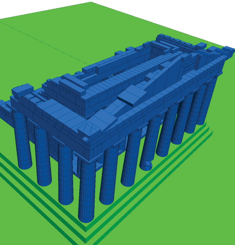 Fig. 7. 3D model prepared for the simulation of the seismic response of the Parthenon west side.