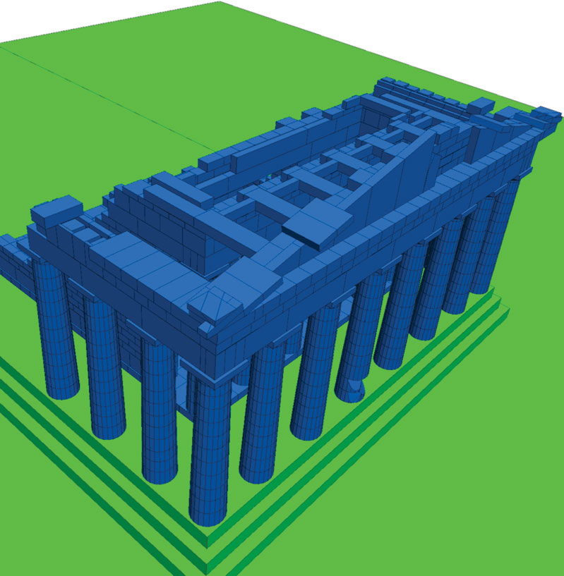 Fig. 8. 3D model prepared for the simulation of the seismic response of the Parthenon west side.