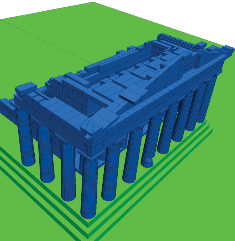 3D model prepared for the simulation of the seismic response of the Parthenon west side.