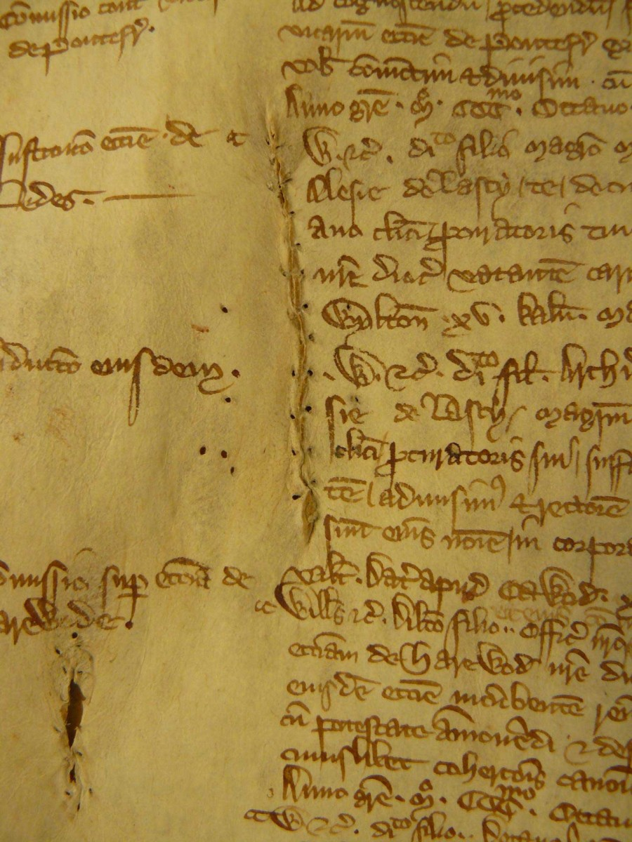 This shows a sewn repair in Archbishop's Register 7 Greenfield, 1306-1311. Credit: By permission of The Borthwick Institute for Archives.