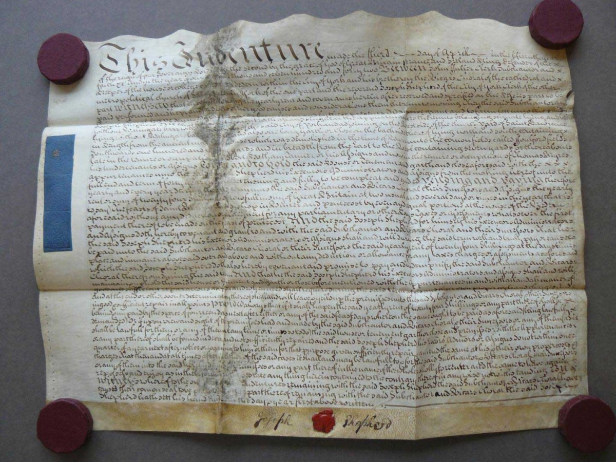 This shows a parchment indenture from Vicars Choral Estates CC. V/C 10 York/Wal. April 2-15, 1742. Credit: By permission of The Borthwick Institute for Archives.
