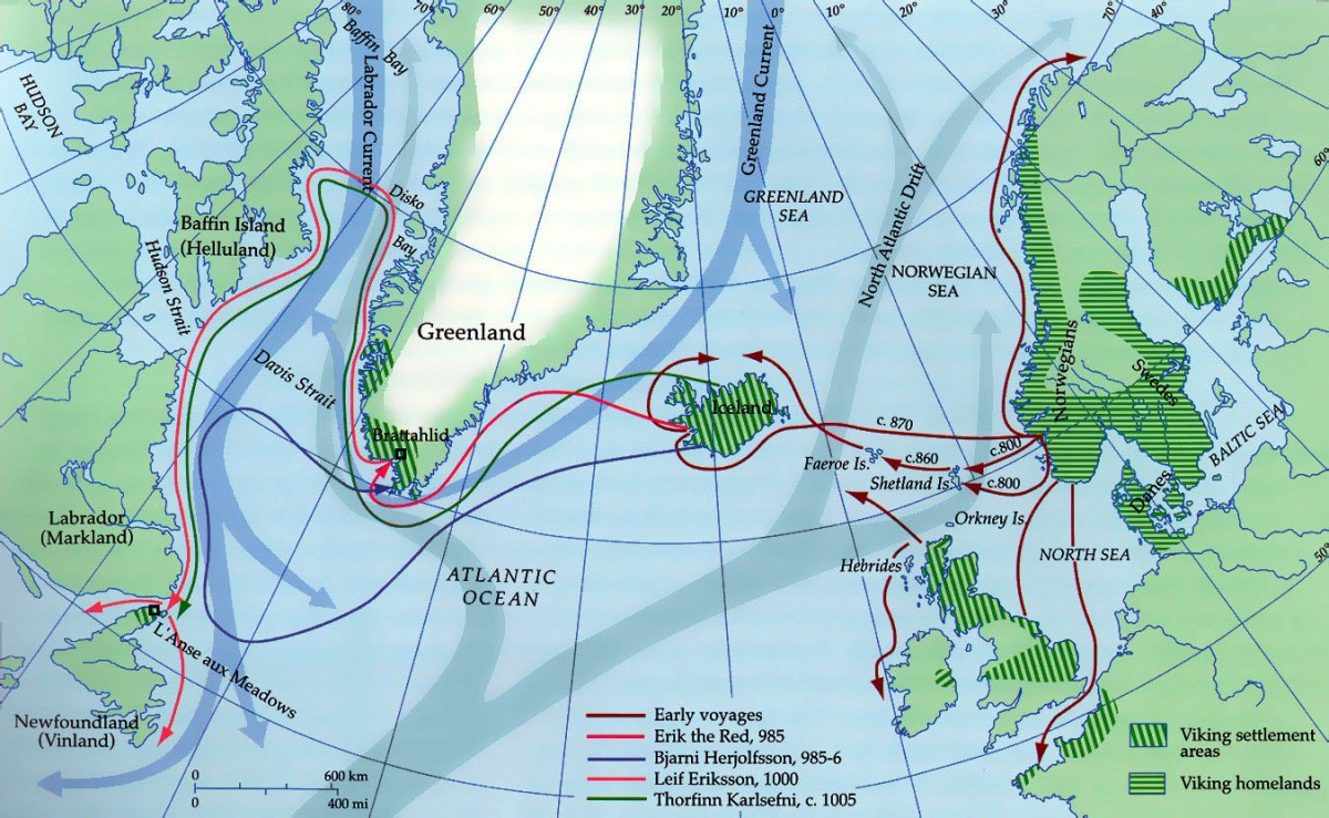 The routes the Vikings followed on their journey to north America.