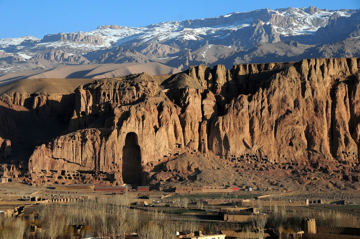 Bamiyan Valley in 2010 with the hole where one of the Buddha statues was demolished. Photo Credit: Afghanistan Matters-Wikimedia.