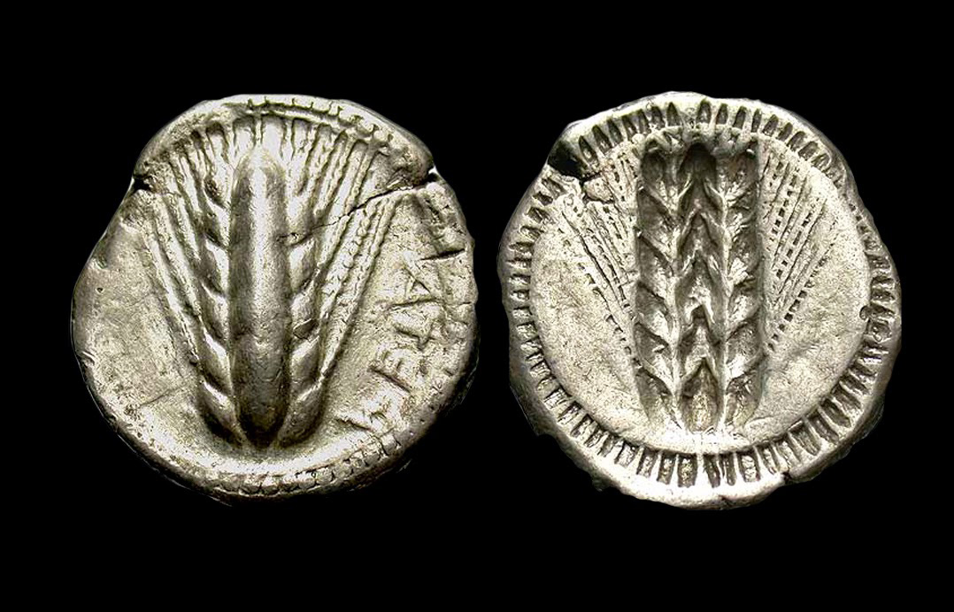 Silver stater from Lucania Metapontion, 510-480 BC: Obv. Ear of corn, META reversed;  Rev: Ear of corn incuse. Credit: Rosenblum Coins.