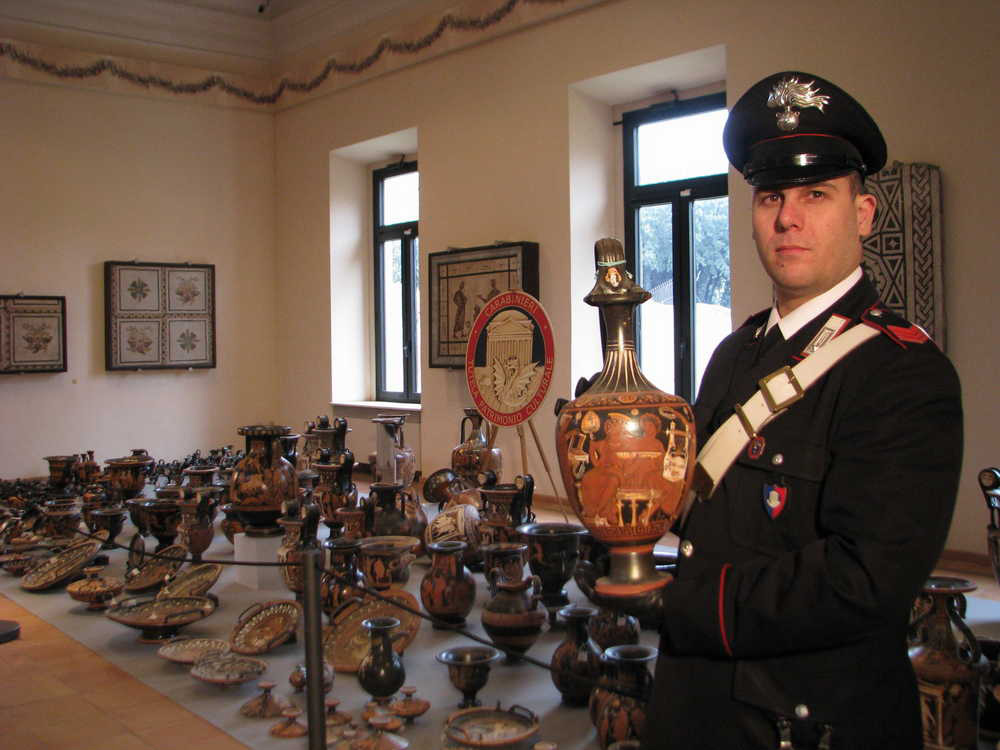 The looted antiquities were laid out at the Terme di Diocleziano museum during a press conference held on Wednesday, January 21, 2015, in Rome. Credit: Ministero dei beni e delle attività culturali e del turismo.