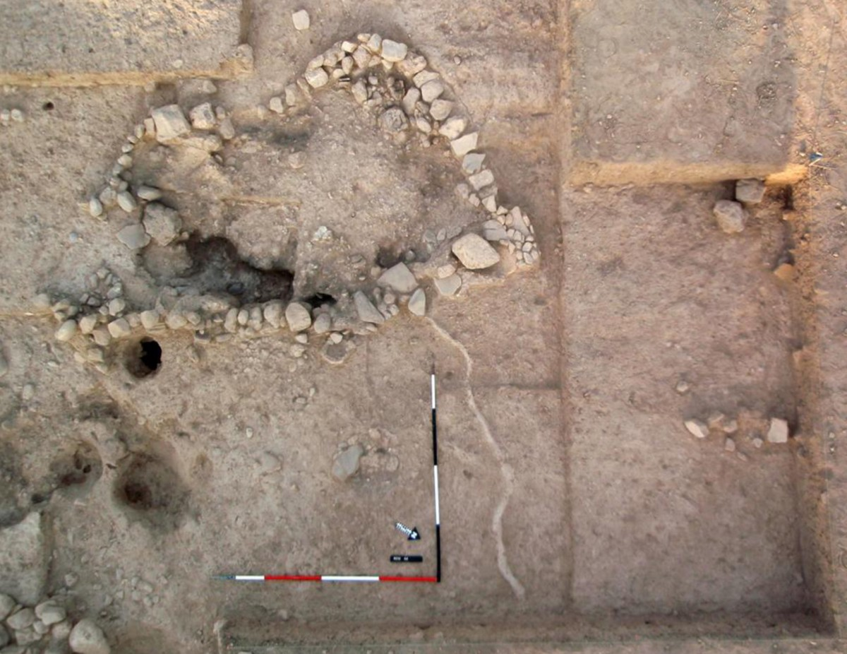 Kissonerga-Skalia: Stone-built structure (filled with ashy soil) and adjacent pits, revealed in 2012.