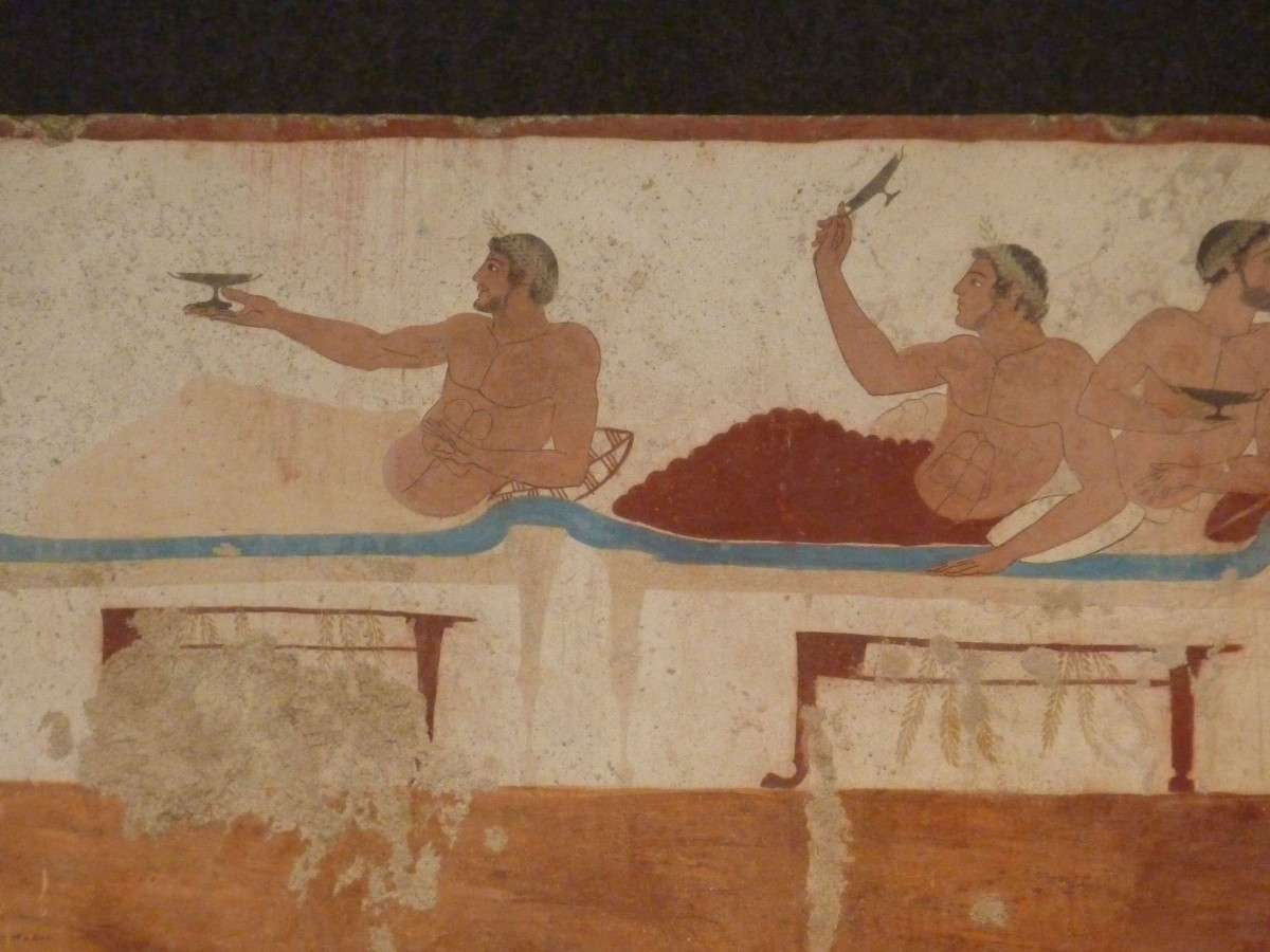 A tomb wall painting depicting kottabos. Photo Credit: PaestumArchaeological Museum.