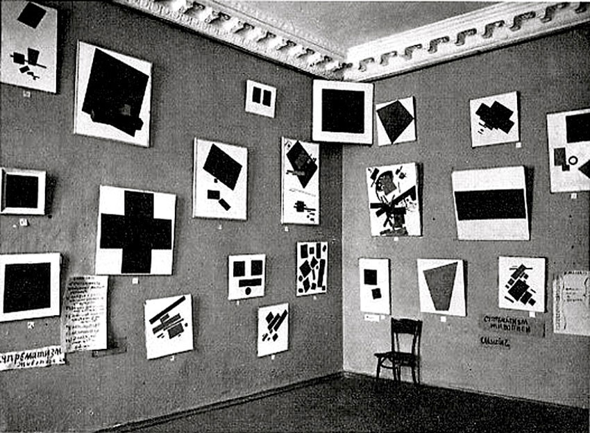 "Fig. 2. ""The Last Futurist Exhibition 0.10"", 19 December 1915-17 January 1916, St Petersburg. Black Square, the emblematic work by Malevich can be seen in the corner. Copyright: Wikipedia Commons."