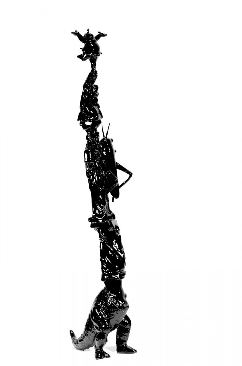 "Fig. 8. Akis Karanos, ""You must be this tall to enter heaven"". 2013, mixed media, 52x19x29 cm. Copyright Akis Karanos."