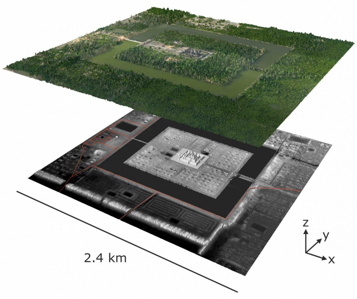 A remote sensing image of Angkor reveals how much of the surrounding city lies hidden. Photograph: Damian Evans/Khmer Archaeology LiDAR Consortium.