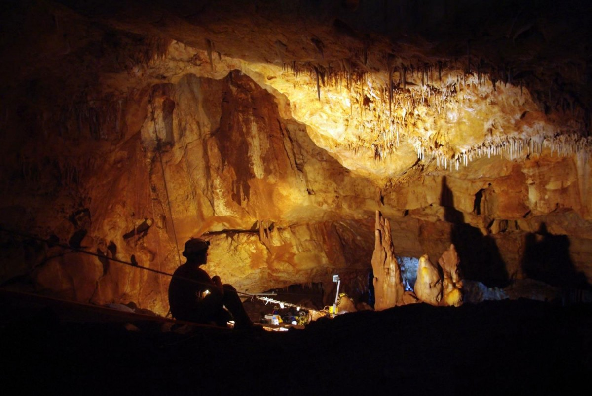 Inside the Manot Cave in Israel's Galilee, where a 55,000-year-old skull sheds new light on modern human migration patterns. Credit: Amos Frumkin / Hebrew University Cave Research Center.