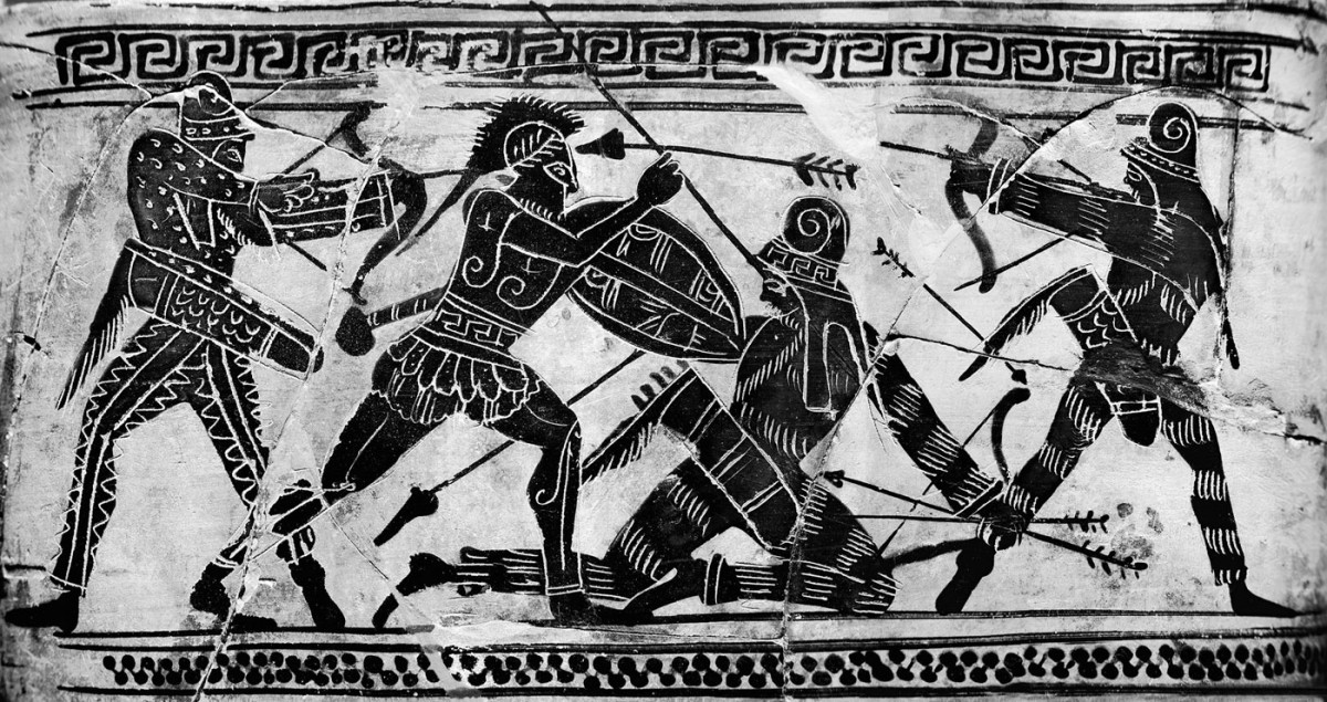 Battle scene with Greek hoplite and Persian warriors. Detail from an Attic black-figure lekythos, 490 BC. National Archaeological Museum, Athens.