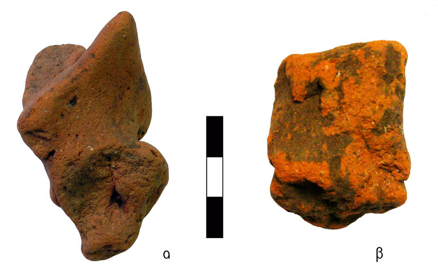 Fig. 10. Dressed torsos of human figurines. Vrysinas's Peak Sanctuary (C. Davaras, exc. 1972-73); α) bodice with pointed back collar (Collar Medicis), SN 93; β) human torso wrapped obliquely with fringed garment (chlaina / wrapper), SN 341.