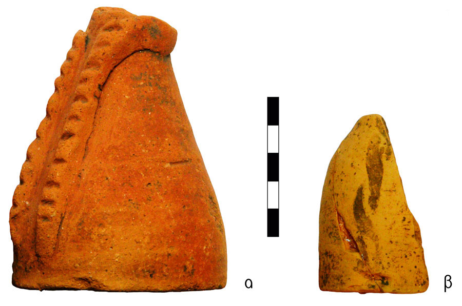Fig. 12  Skirts. Vrysinas's Peak Sanctuary (C. Davaras, exc. 1972-73); α) bell – shaped skirt with untied belt, RMN 21536; β) fragment of a bell-shaped skirt with imprints of a knitted belt, SN 2.
