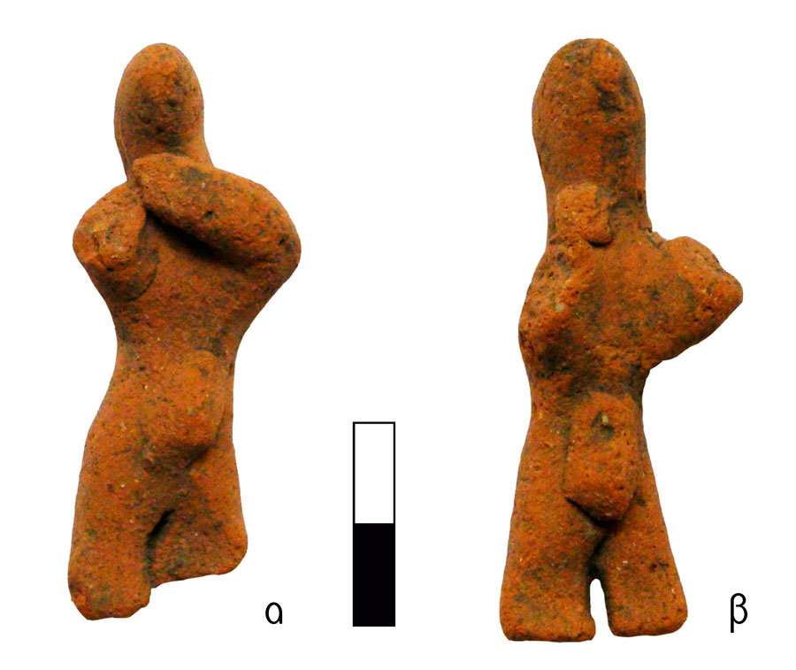Fig. 3. Miniature human figurines, with the same gesture, wearing belt and codpiece. Vrysinas's Peak Sanctuary (C. Davaras, exc. 1972-73); α) RMN 16671, β) RMN 16672.