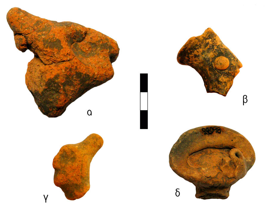 Fig. 7. Human figurine heads with different hats. Vrysinas's Peak Sanctuary (C. Davaras, exc. 1972-73); α) pointed concrete cap (pilos), SN 54; β) inverted truncated conical hat (polos), RMN 21883; γ) coiffure in bun (crobylos), SN 1346.