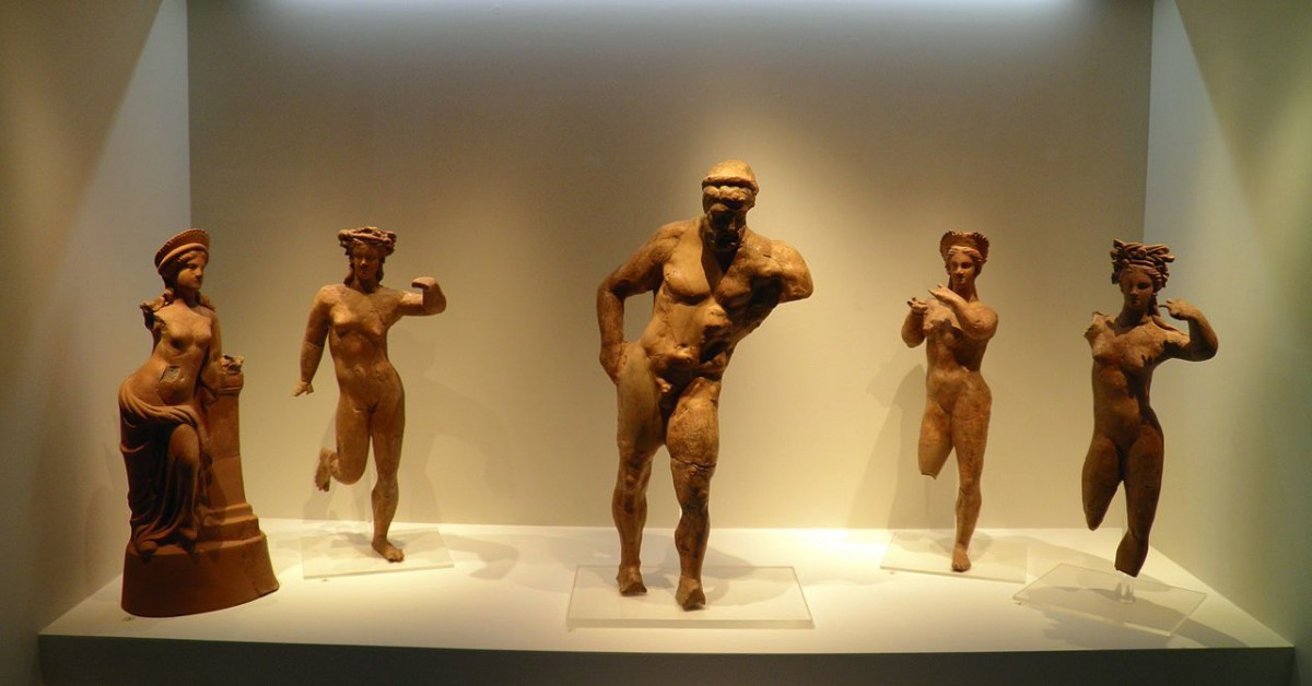Terracotta figurines from the Agora (Aphrodite and Heracles), Archaeological Museum, Pella.