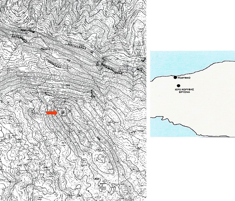 Fig. 1. Map of the surrounding area of the Vrysinas peak sanctuary, where the excavations were conducted.
