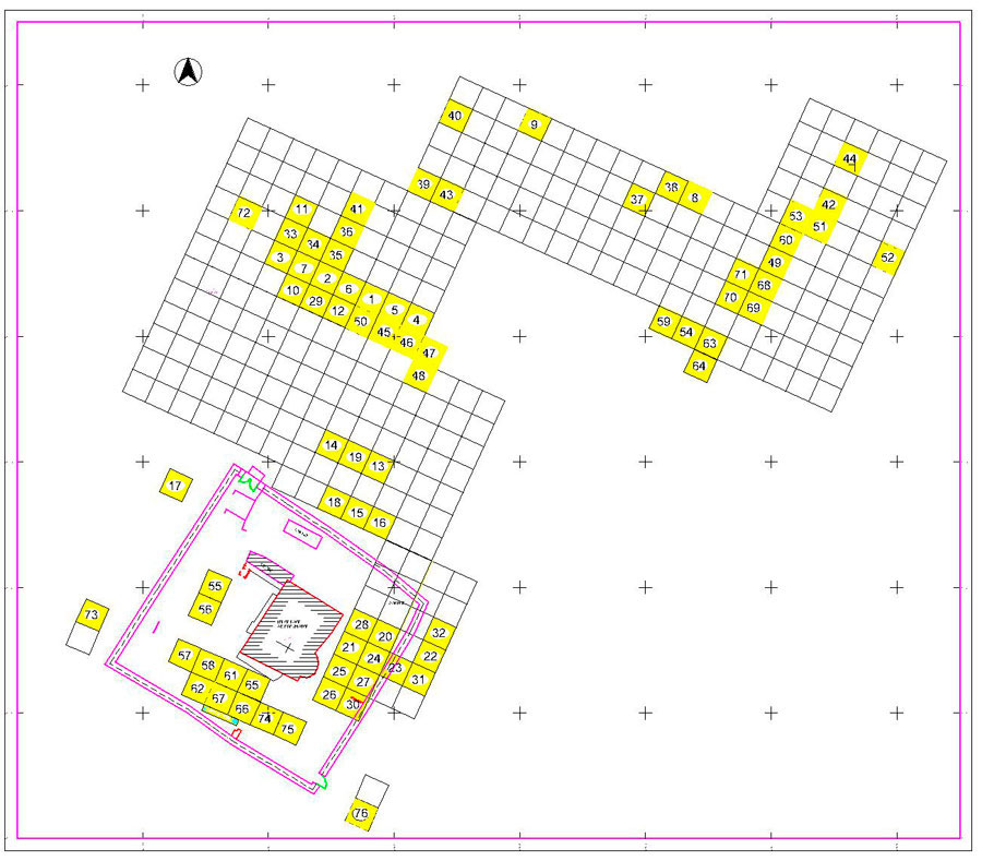 Fig. 2. Grid drawn up in 2011 for the excavation. The excavated sections are marked in yellow.