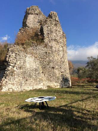 The drone starting work. Photo credit: ANSA, stress.