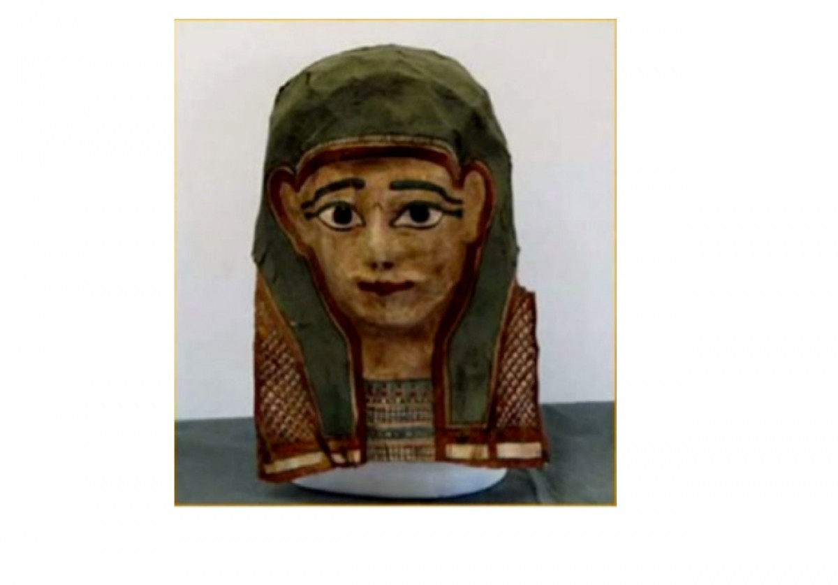 One of the masks used to extract papyri with ancient texts.