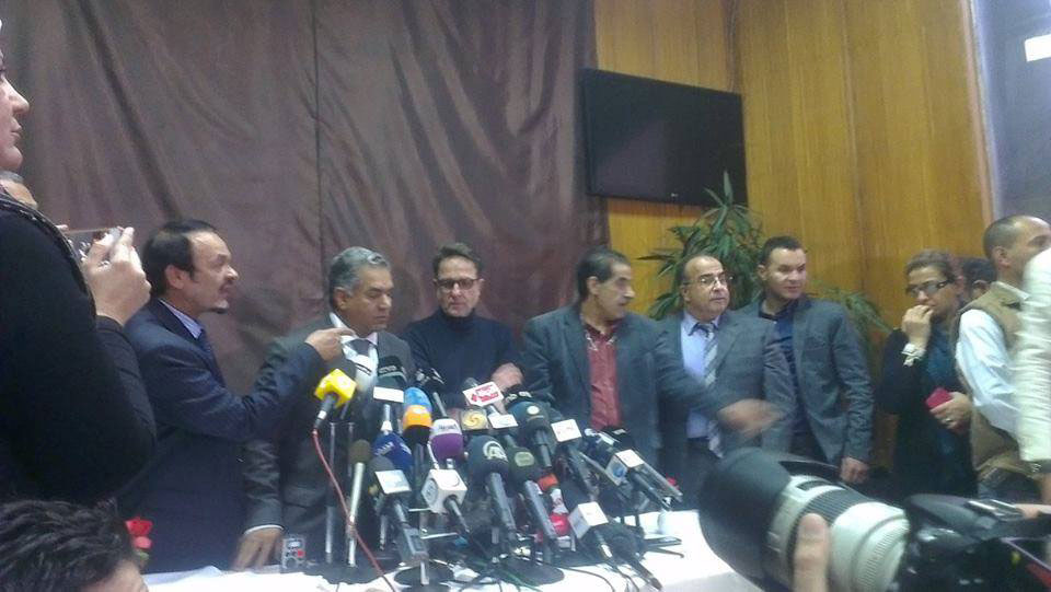 Minister of Antiquities, Mamdouh Eldamaty (center) at the Press Conference on January 24.