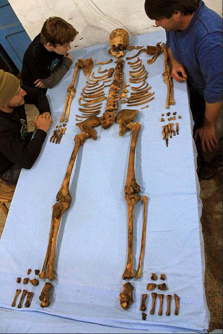 Skeleton of Pharaoh Senebkay. Photo: Josef Wegner.