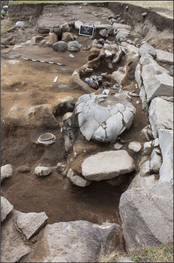 The altar and basin of a shrine excavated on the fortress' east citadel. Photo Credit: Professor Adam Smith.