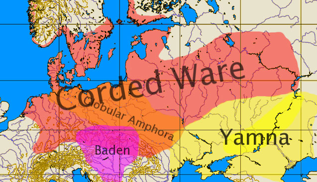 A map showing the neighbouring Corded Ware and Yamna cultures.