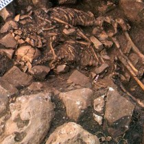 Two skeletons in a tight embrace unearthed in Greece