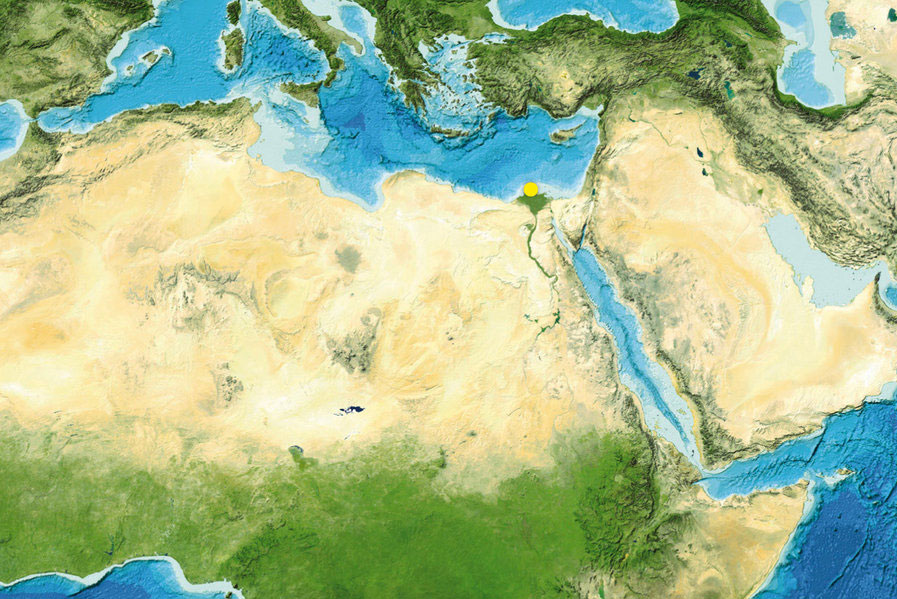 9,000 years ago the Sahara was green. Details on the transition could now be reconstructed from samples obtained off the mouth of the river Nile in the Mediterranean (yellow dot). Image Reproduced from the GEBCO world map 2014 www.gebco.net.